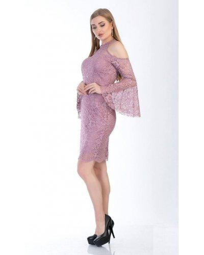 Rochie eleganta midi roz pal cu maneci clopot Asmina