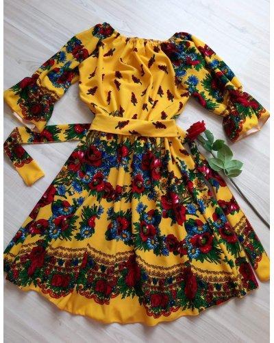 Rochie scurta galbena cu print traditional gipsy Zaraza