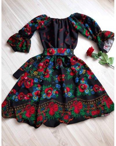 Rochie scurta neagra cu print traditional gipsy Zaraza