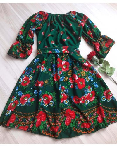 Rochie scurta verde cu print traditional gipsy Zaraza