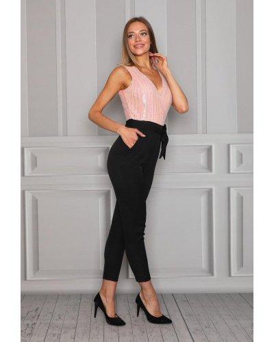 Salopeta eleganta cu paiete roz Hannah