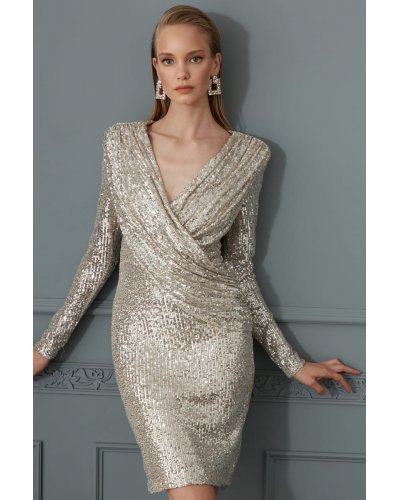 Rochie de ocazie cu paiete argintii Artista