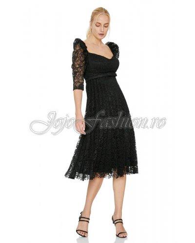 Rochie de ocazie midi dantela plisata neagra Fervente Alvina