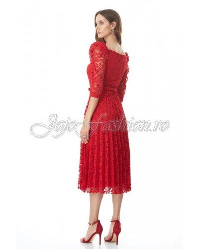 Rochie de ocazie midi dantela plisata rosie Fervente Alvina