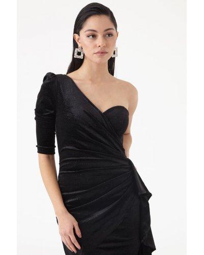 Rochie de seara pe un umar din catifea neagra Lissa