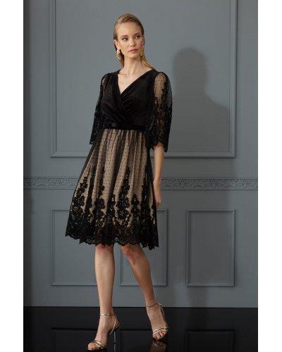 Rochie eleganta cu tul si catifea neagra Jaqueline