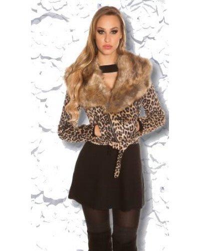 Geaca dama scurta leopard print cu guler din blana eco Loredana