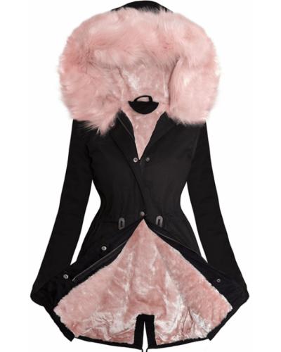 Geaca de dama de iarna neagra cu blanita roz Paola