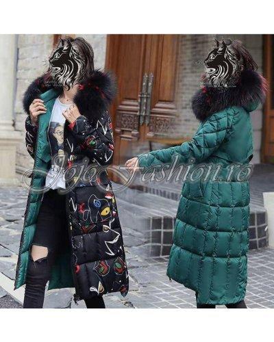 Geaca de dama de iarna parka matlasata verde cu doua fete Venus
