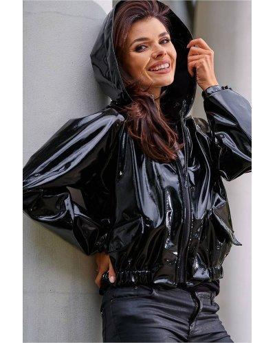 Jacheta lacuita de toamna impermeabila cu gluga neagra Atena