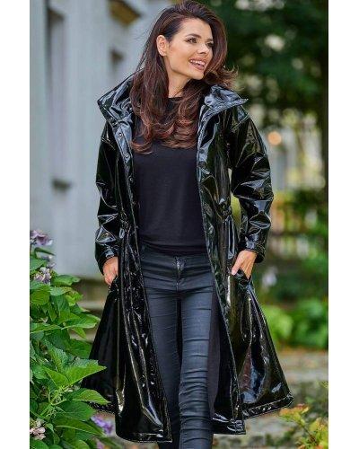 Palton negru lacuit de dama Tokyo