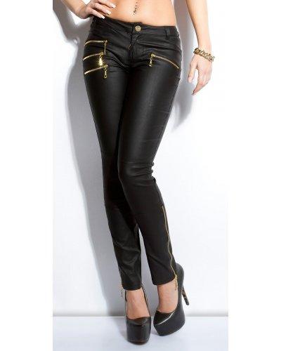 Pantaloni dama lungi cu talie joasa LeatherLook Zyna