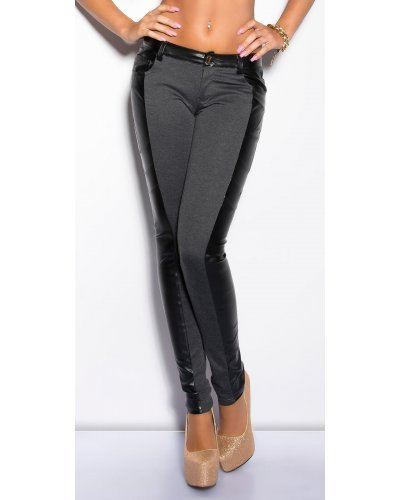 Pantaloni dama lungi gri cu insertii din piele Jamilla