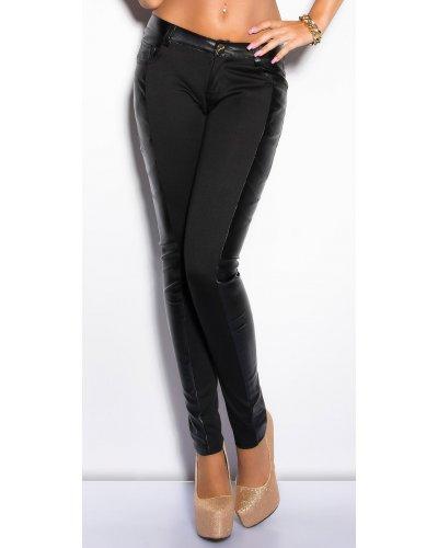 Pantaloni dama lungi negri cu insertii din piele Jamilla