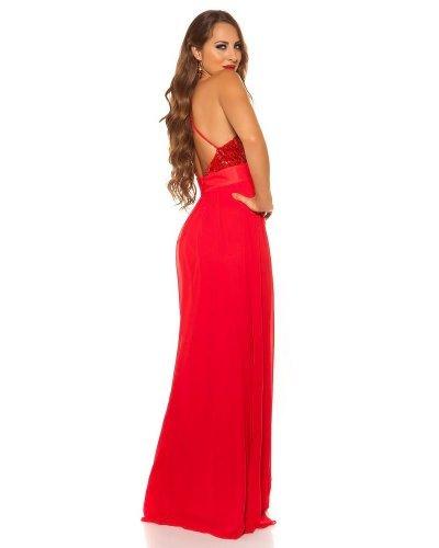 Rochie de seara lunga cu bust din paiete rosii Sevda