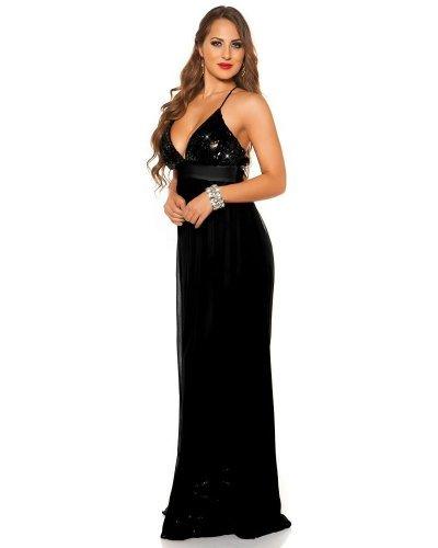 Rochie de seara lunga cu bust din paiete negre Sevda