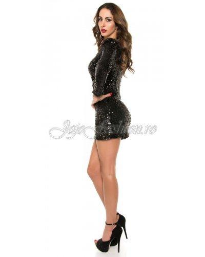 Rochie de seara scurta din paiete negre cu maneci lungi Debra