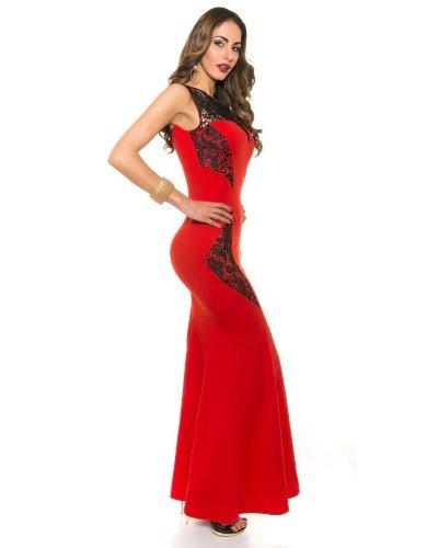 Rochie eleganta lunga elastica cu dantela neagra aplicata Arina