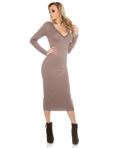 Rochie midi tricotata cu decolteu in V si maneci lungi cappucino Cora