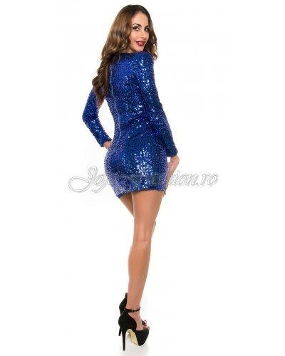 Rochie scurta mulata cu maneci lungi din paiete albastre Debra