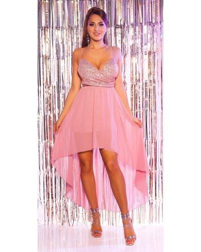 Rochie de ocazie asimetrica cu trena din voal si paiete roz Aura