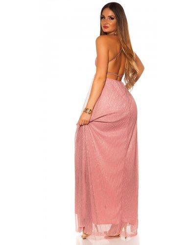 Rochie de ocazie lunga vaporoasa  roz cu glitter Dariana
