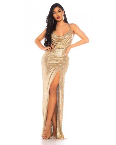 Rochie de seara eleganta cu glitter auriu Cleo