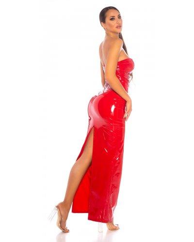 Rochie de seara lunga rosie din latex Lizzy