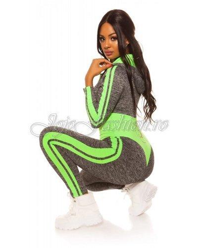 Trening de dama mulat gri cu verde neon Lidia