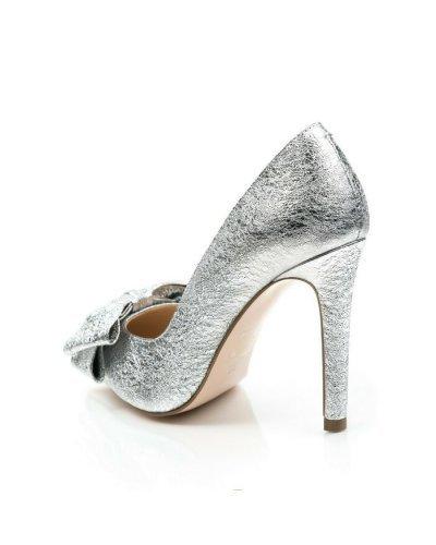 Pantofi dama stiletto argintii din piele naturala Garkony Melany