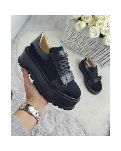 Pantofi dama din piele naturala intoarsa neagra cu platforma Aileen