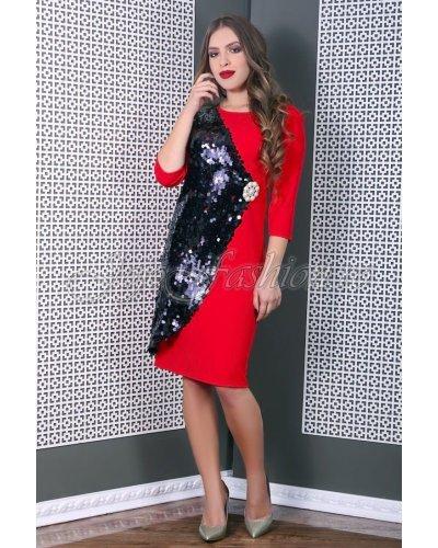 Rochie de ocazie eleganta conica rosie cu paiete negre Viktoria