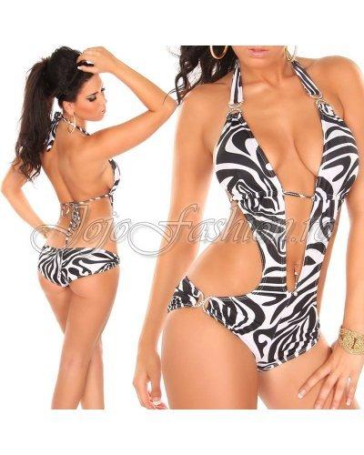 Costum de baie intreg alb negru animal print zebra Miranda