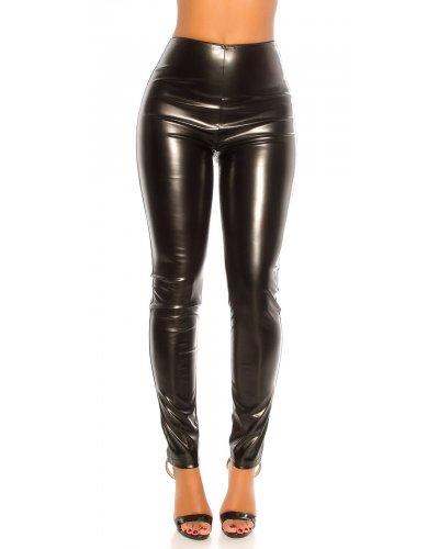 Pantaloni dama cu talia inalta din piele eco neagra Kaola