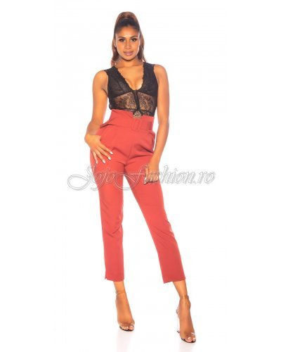 Pantaloni dama cu talie inalta burgundy Koucla Caron