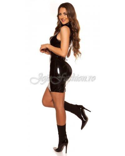 Rochie de club scurta din latex negru wetlook Isabela