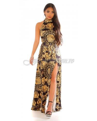 Rochie de ocazie lunga cu imprimeu baroc negru galben Callida