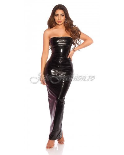 Rochie de seara lunga din latex negru wetlook Lizzy