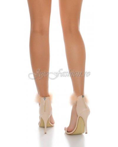 Sandale bej de dama cu puf si toc inalt Dariella