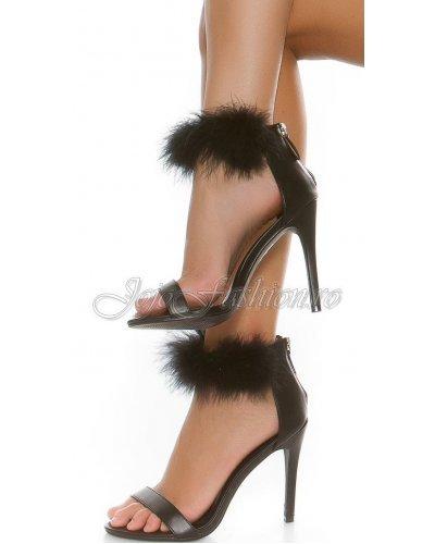 Sandale negre de dama cu puf si toc inalt Dariella