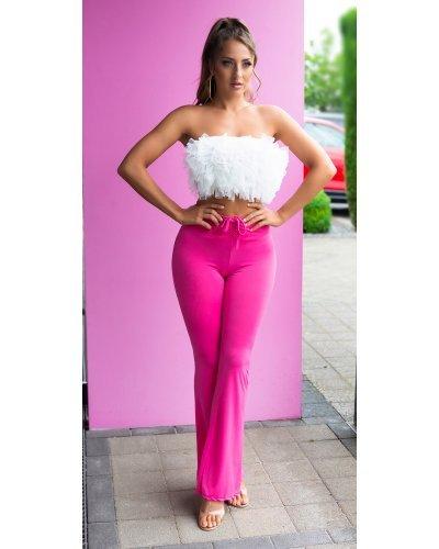 Pantaloni dama evazati roz bombon cu talia inalta Akella