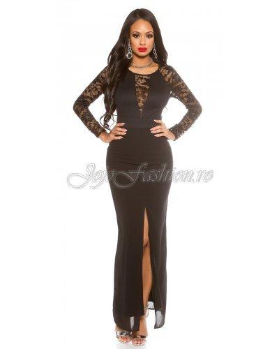Rochie lunga eleganta din dantela neagra cu maneci lungi Mollie