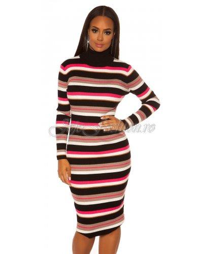 Rochie midi tricotata cu guler pe gat si maneci lungi cu dungi multicolore Crina