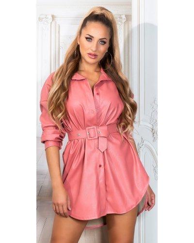 Rochie de club din piele roz Fay