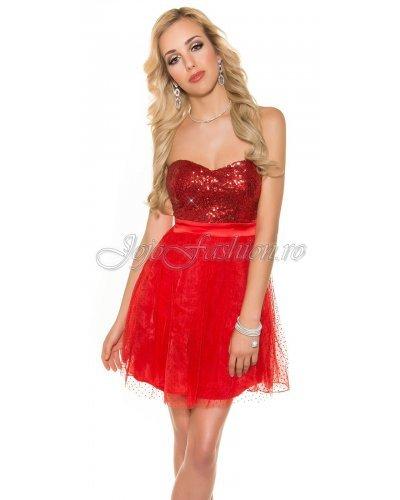 Rochie de ocazie baby doll cu paiete rosii Casey