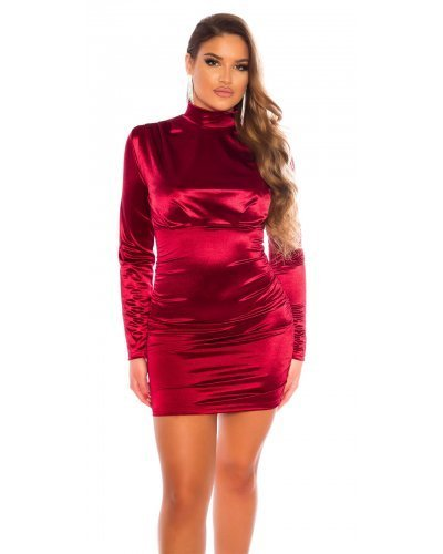 Rochie de seara din satin burgundy drapata Evonne