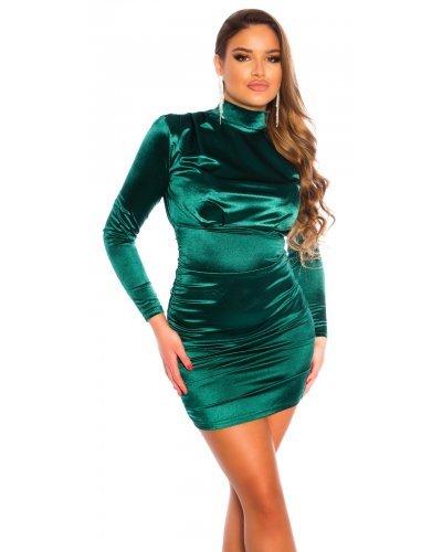 Rochie de seara din satin verde drapata Evonne