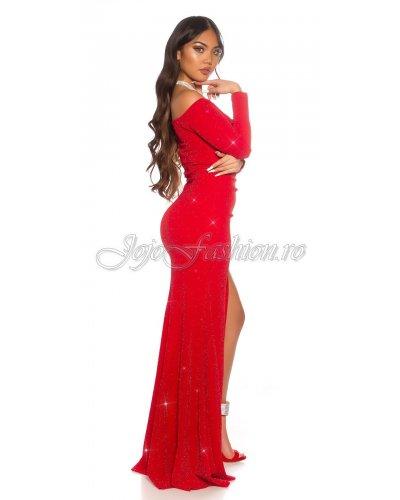 Rochie de seara eleganta rosie lunga Koucla Carisa