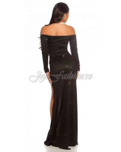 Rochie de seara glitter negru lunga Koucla Carisa