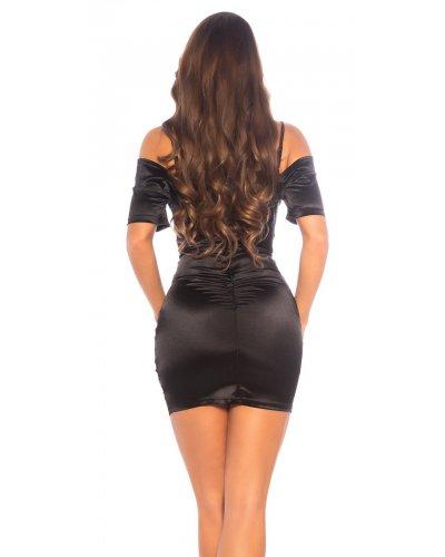 Rochie de seara scurta off shoulder neagra drapata Cher